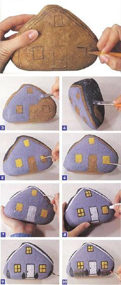 石头手工房子图片